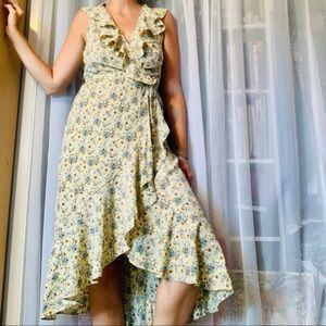 Yellow Floral Wrap Dress